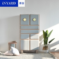 InYard Original Big Hidden High Ark Cashier Box Side Stand Blue Apricot Nordic Solid Wood