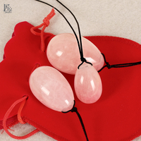 3 Pcs Set Drilled Natural Rose Quartz Egg Yoni Egg For Kegel Exercise