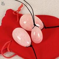 3 Pcs Set Drilled Natural Rose Quartz Egg Yoni Egg For Kegel Exercise