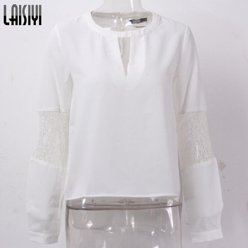 best loved 392fc a6488 Laisiyi moda salvaje americano 2017 chica gasa camisa de manga larga Top  blanco costura suelta verano casual blusa blusas SY8017