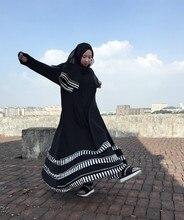 Black big hem msulim abaya fashion long islamic dress