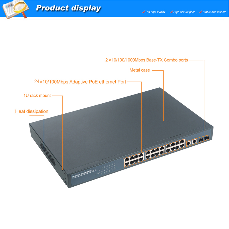 24 Ports POE Switch With 2 Gigabit Combo Ports With RTL8332L