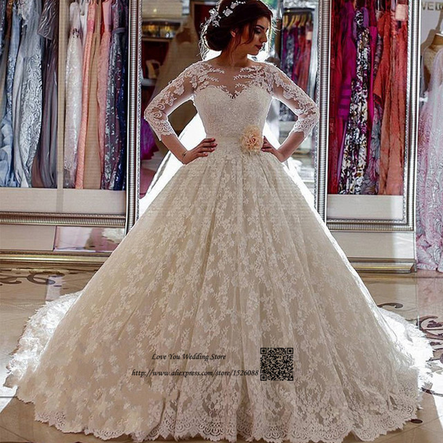 Lace Arab Wedding Gowns Turkey Vestidos de Noiva Custom Made Vintage  Wedding Dress 2017 Long Train Long Sleeve Bride Dresses be164774b550
