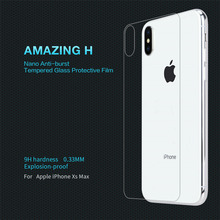 For iPhone XS max Tempered Glass NILLKIN Amazing H Tempered Glass Back Cover Protector Film Nano-Coated Tempered Film nillkin tempered glass back cover protector film for sony xperia z2 l50 h