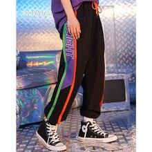 SODAWATER Girl Streetwear Sweatpants 2019 Summer Side Letter Print Loose Trousers Women Elastic Wasit Casual Joggers Pants 9327S