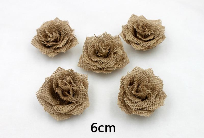 Antique Burlap Rose Flower For Wedding Event & Party Headwear Brooch Decoration 5 pcs/lot