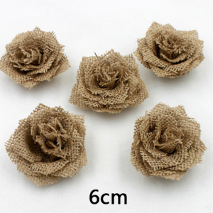Antique Burlap Rose Flower For