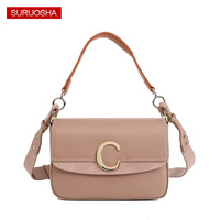 Genuine Leather Women Bag Crossbody Bag,Luxury Handbags Women Bags Designer Ring C Metal Handbag Khaki Handbag Messenger Bags