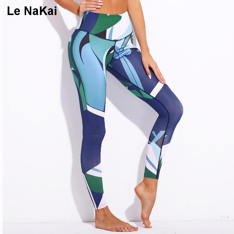 Contrast Color Geometrical Print Women Yoga Pants Unique Impressionism Painting Print Yoga Legging Fitness Sports Pants Le NaKai