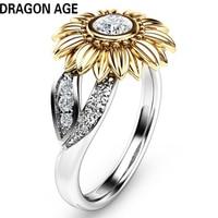 TOP New Elegant Age Brand Fine Jewelry Crastal Zircon Flower Cute Rings Fashion Lady For Women