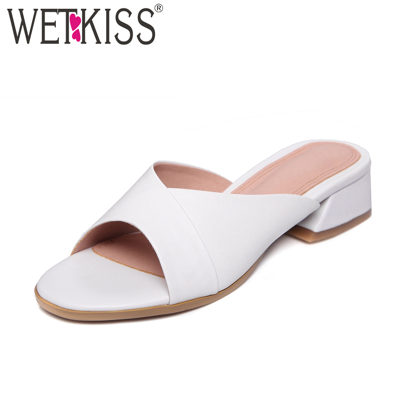 WETKISS 2018 Summer Thick Heels Women Slippers Open Toe Slides Footwear New Leather Fashion Casual Med Heels Ladies Mules Shoes