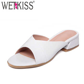 WETKISS 2019 Summer Thick Heels Women Slippers Open Toe Slides Footwear New Leather Fashion Casual Med Heels Ladies Mules Shoes - DISCOUNT ITEM  45% OFF All Category