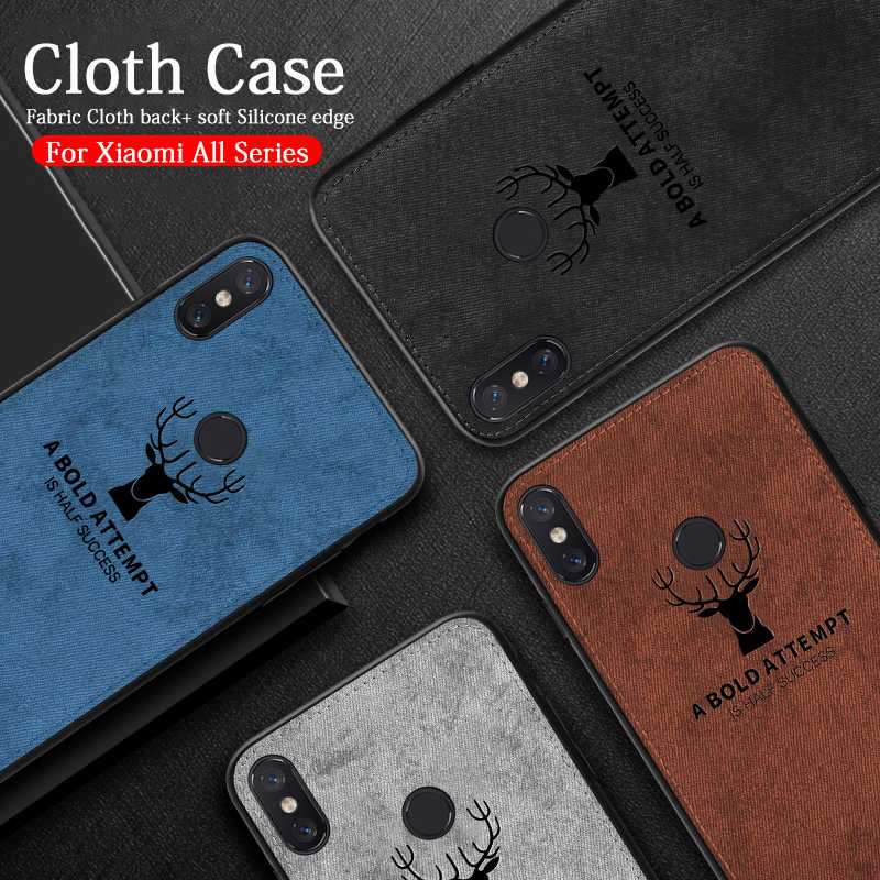 Cloth Fabric phone case for xiaomi mi a2 lite 8 9 se a1 a2 6x mix 2s max 2 3 redmi 7 note 5 6 pro 6a pocophone F1 Silicone Cover