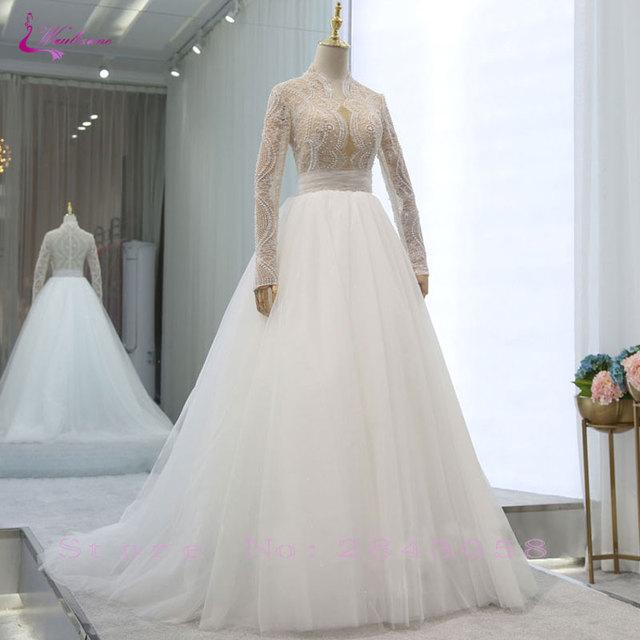 31f1bc121f4 Waulizane Simple Silky Organza A-Line Wedding Dress Beading Crystals Pearls  Full Sleeves High Collar Bridal Dresses Custom Made