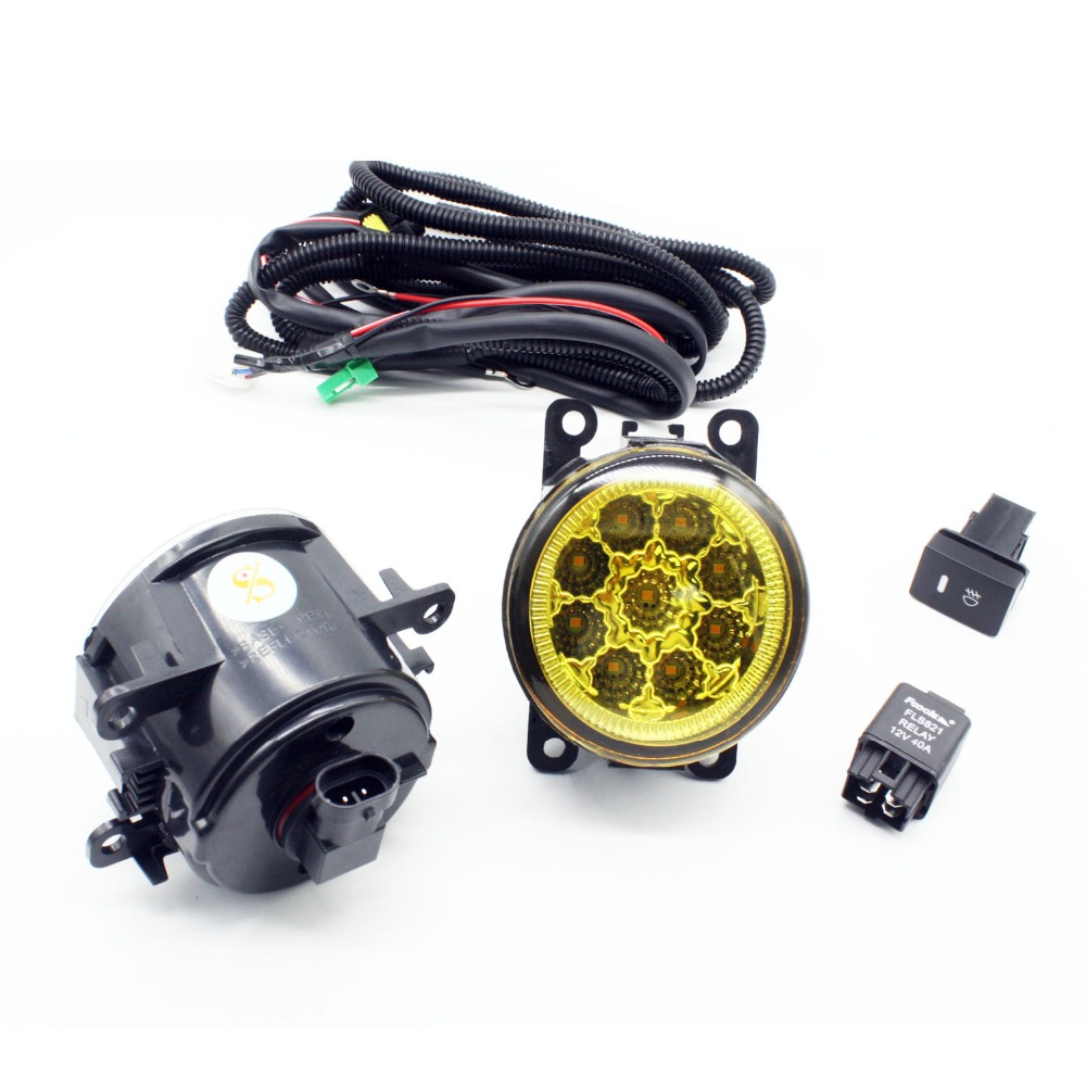 H11 Wiring Harness Sockets Wire Connector Switch + 2 Fog Lights DRL Front Bumper LED Lamp Yellow For Renault LOGAN Saloon LS for renault logan saloon ls h11 wiring harness sockets wire connector switch 2 fog lights drl front bumper 5d lens led lamp