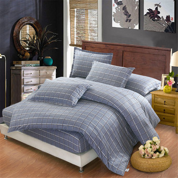 Fashion Queen king Bedding Set Modern Duvet Cover Plaid-Bedding Striped fitted Sheet pillowcase Duvet cover gray Bedding sets