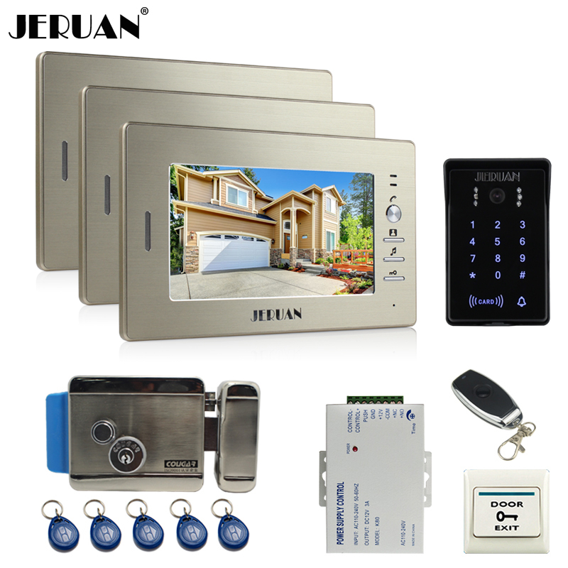 JERUAN wired 7`` LCD video doorphone intercom system 3 monitor RFID waterproof Touch Key password keypad camera+remote control jeruan 8 inch lcd video doorphone recording intercom system kit new rfid waterproof touch key password keypad camera 8g sd card
