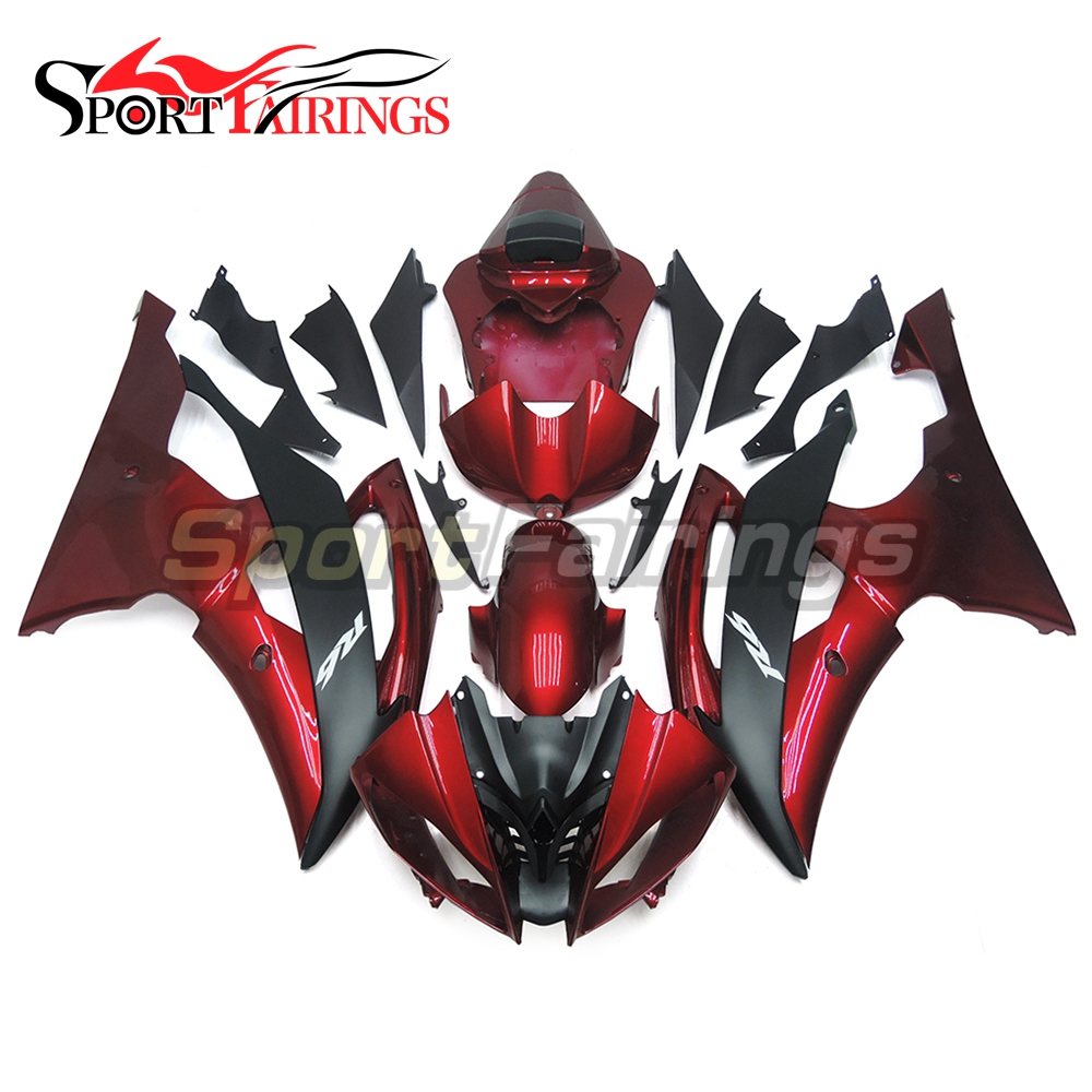 Red Black Matte Fairings For Yamaha R6 08 09 10 11 12 13 14 15 Plastics ABS Motorcycle Fairing Kits YZF600 Bodywork Carenes New hot sales yzf600 r6 08 14 set for yamaha r6 fairing kit 2008 2014 red and white bodywork fairings injection molding