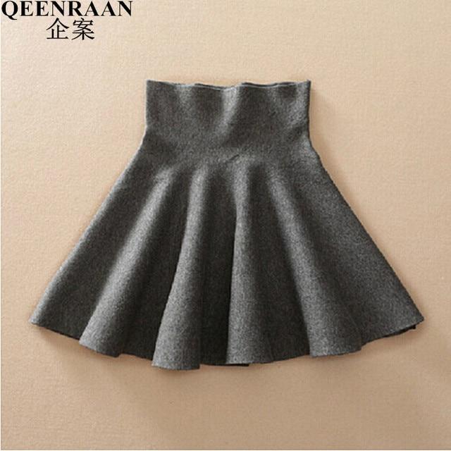 3cf95be1502 2018 Spring Autumn High Waist Knitted Skirts Women Pleated mini Skirt  Casual Elastic Flared Skirt Female midi Short Skirt Woman