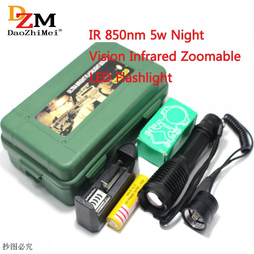 Tactical 5W 850nm LED Infrared Radiation Night Vision Light IR Flashlight Torch Headlight Handlamp+18650 battery charger +box