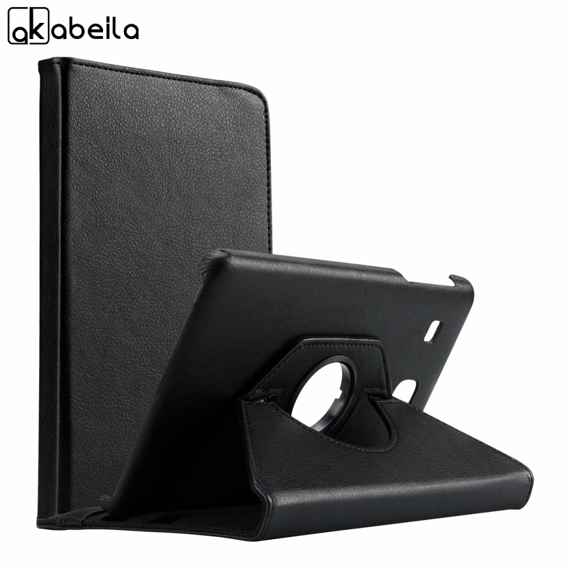AKABLEILA Litchi Pattern Tablet PU Leather Cases For Samsung Galaxy Tab E 8.0 inch T377 Case 360 Rotating Stand Protective Cover
