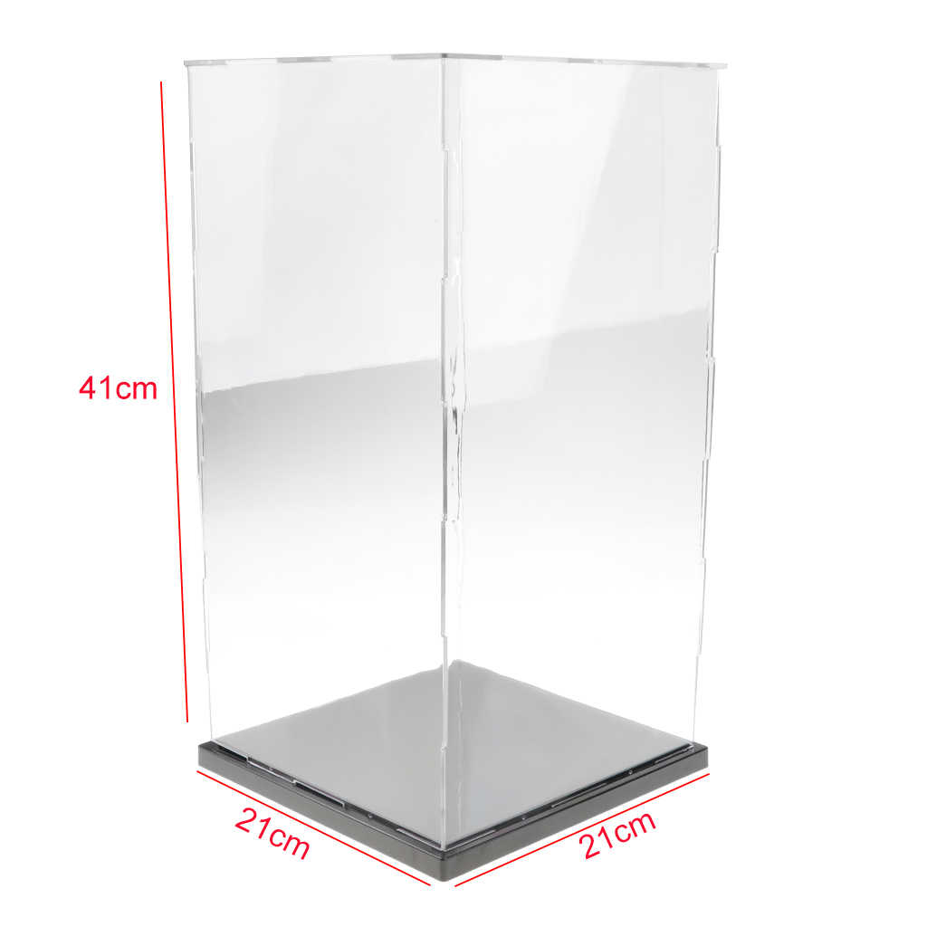 100% brand new  21x21x41cm Transparent Display Show Case with Balck Base for Figures Model Protect your collectibles from dust