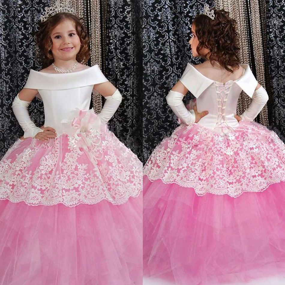 Nuevo Color de Rosa de Marfil Largo Vestido de Fiesta Niñas Precio ...