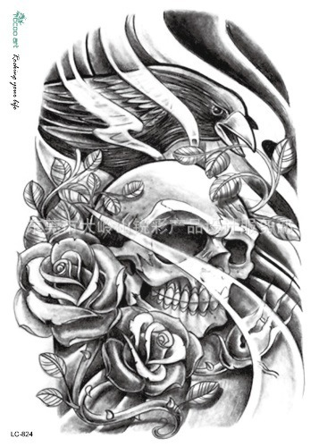 Body Art Beauty Makeup Sexy Dangerous Crow And Skull Tattoo Waterproof Temporary Tattoo Stickers Sexy