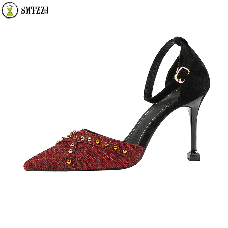 SMTZZJ Concise Women Bling Office Casual Shoes Thin Women Pumps Solid Flock Pointed Toe Shallow Buckle Fashion High Heels Shoes