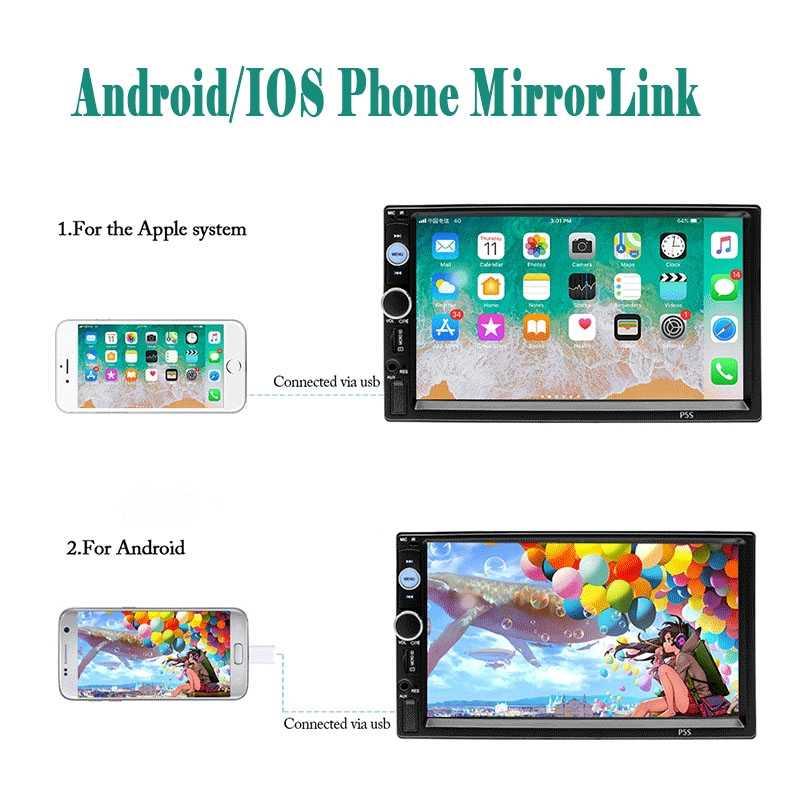 """7010B Autoradio 4th 7 """"ダブル 2 喧騒車のラジオ Sterio MP5 プレーヤー Android/IOS MirrorLink TF USB FM サブウーファー"""