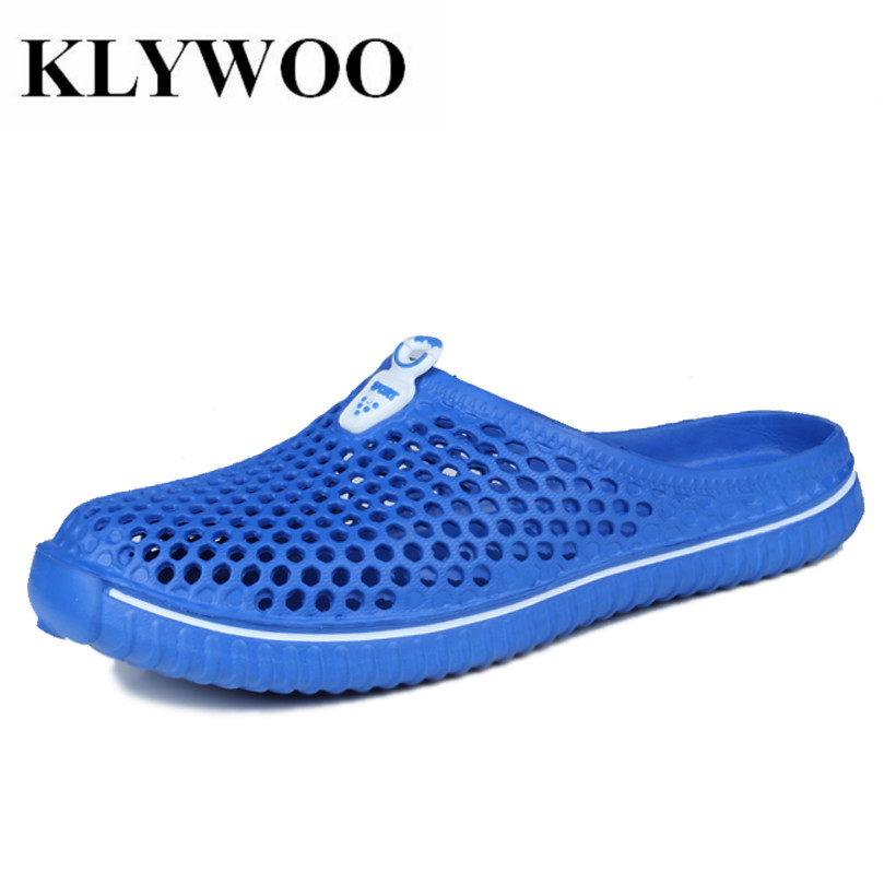 KLYWOO Big Size 36-45 Summer Men Sandal Breathable Beach Shoes Slip On Casual Men's Sandals Fashion Men Slippers Slide Shoes suihyung design new women and men summer flat shoes hit color breathable hollow beach slippers flips non slip unisex sandals