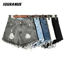 IUURANUS Denim Shorts for Women Vintage High Waist Summer Casual Female Straight Mini Shorts Tassel Harajuku Jeans Plus size цена