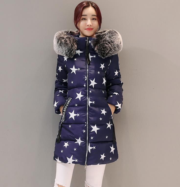 New 2017 Winter Jacket Women Printed Cotton Coat Fur Collar Hood Parka Female Long Jackets Thick Warm Outerwear 858 kuyomens winter short jacket women s collar thick warm cotton parka for women winter jackets coat female autumn clothes