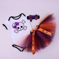 3 шт. комплект для маленьких девочек Череп фиолетовый 1st-пачка на Хэллоуин наряд младенческой ползунки Пышная юбка повязка на голову Детские...