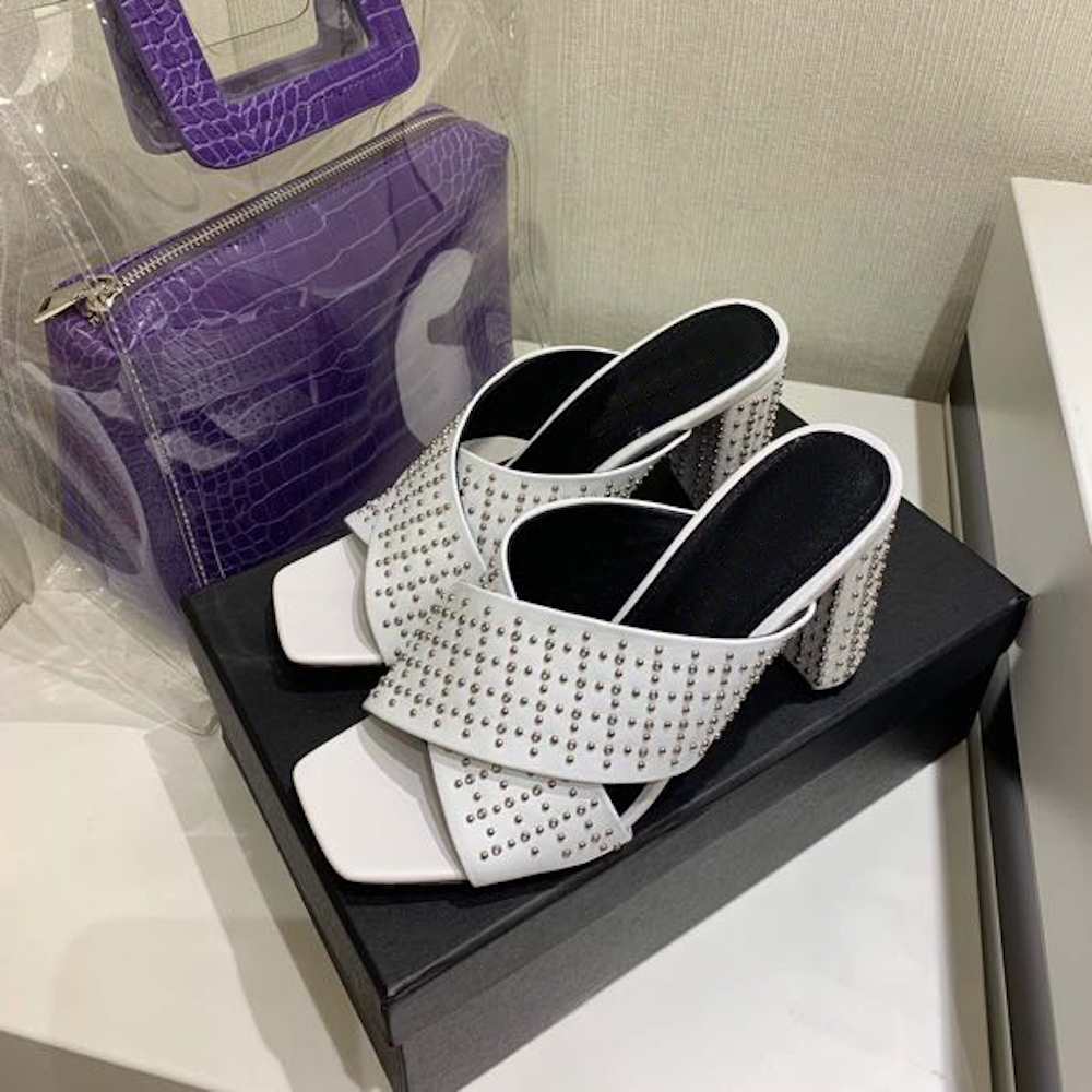 여성 신발 정품 가죽 하이힐 슬라이드 뜨거운 판매 오픈 발가락 여름 외부 슬리퍼 여성 인과 섹시한 펌프 대형-에서슬리퍼부터 신발 의  그룹 1