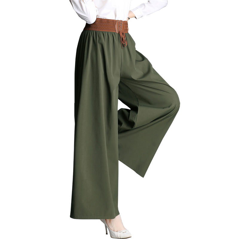 85522460e9109 Wide Leg Pants Newest 2019 Spring Thermal Women Dress Skirt Plus Size  Elastic Waist to 45 90 kg Capris Culottes Trousers S129-in Pants   Capris  from Women s ...