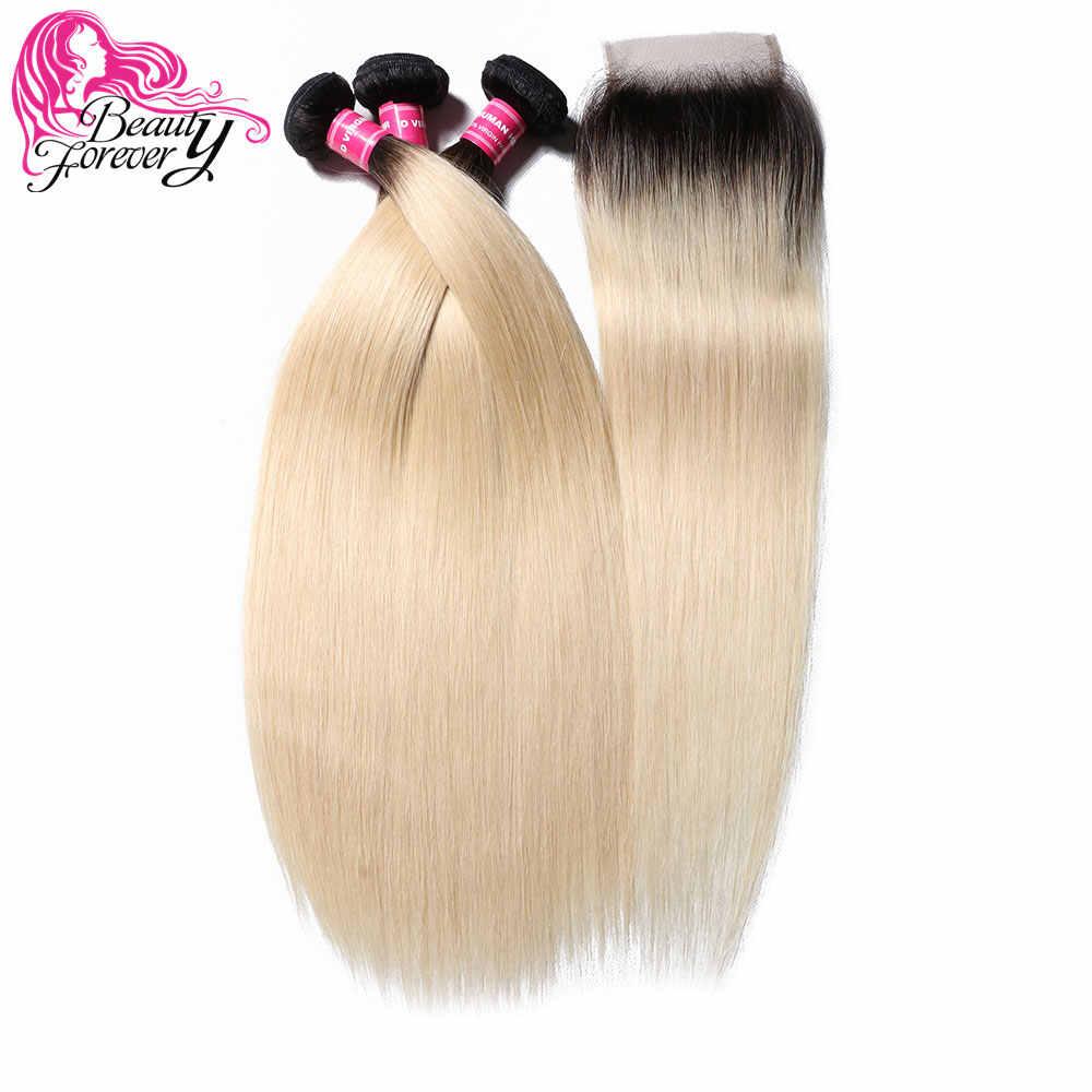 Beauty forever 3 шт Прямо бразильские косички расслоения с закрытием кружева 4*4 свободная часть человеческих волос T1B/613