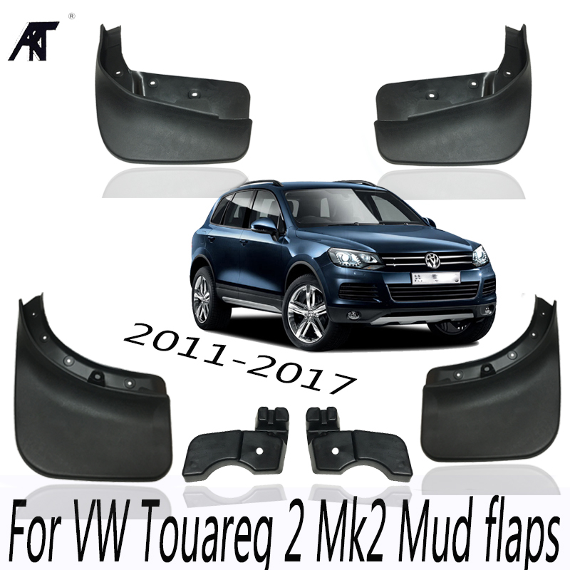 For VW Touareg 2 Mk2 2011-2017 Mudflaps Splash Guards Front Rear Mud Flap Mudguards 2012 2013 2014 2015 2016 7P5 Set Mud Flaps for ford explorer 2013 2018 plastic more fashion front rear mud guard mudguards splash flaps cover protector trim 4 piece