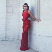Saudi Arabisch Red Spitze Meerjungfrau Abendkleider Schößchen Sheer Lange Abschlussball-kleider Sheer Nigeria Robe De Soiree Formale Party Kleid