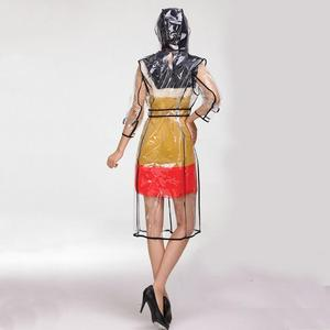 Image 3 - YUDING Waterproof Transparent Plastic Clear Long Ladies Raincoats Women Men Fashion Rain Coat Jackets Hooded with Belt