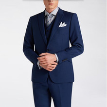 Blue wool blended men's suits high quality wedding suits tuxedos Comfortable and keep warm groom dress suits(jacket+vest+pants)
