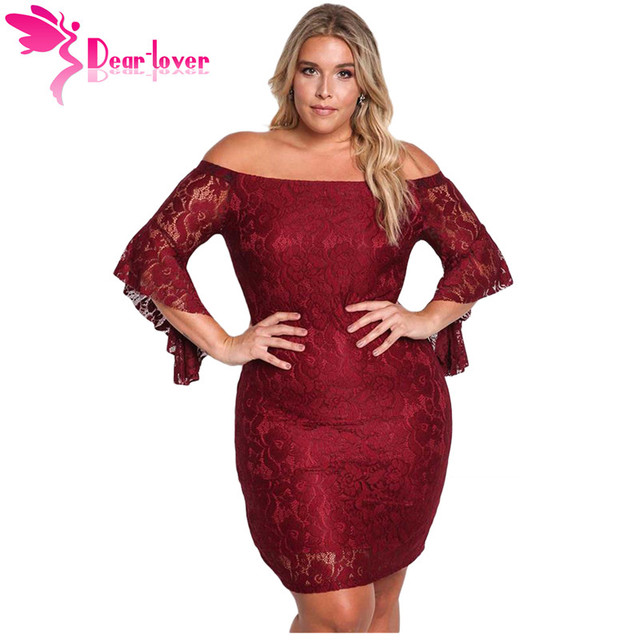 16ef8447d804 Dear Lover Off Shoulder Dresses Autumn Winter Burgundy Black Plus Size Lace  Party Club Bodycon Dress Large Women Clothes LC61779