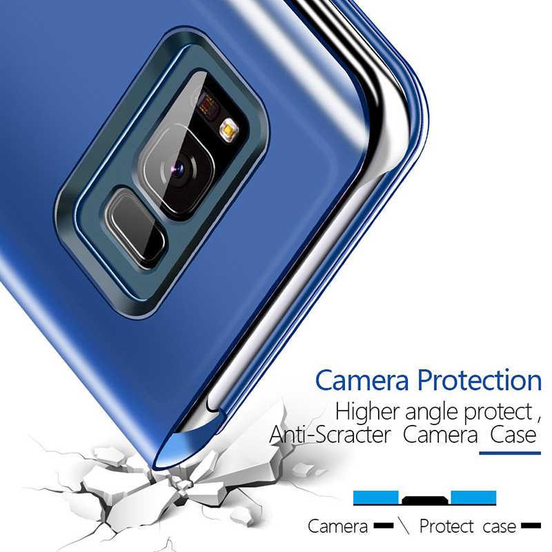 مرآة ذكية الوجه حقيبة لهاتف سامسونج غالاكسي S8 S9 S10 زائد S10e S7 حافة ملاحظة 9 8 A6 A7 A8 J4 J6 J8 2018 A50 A30 A20 A10 A70 غطاء