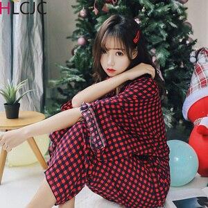 Image 1 - Женские пижамные комплекты, комплект из 2 предметов, весенний женский топ и штаны, повседневные кимоно с длинным рукавом, рубашки и штаны, женские пижамы, домашний костюм