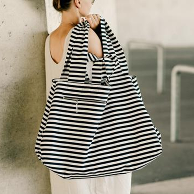 2019 Large Canvas Fashion Durable Women Black And White Stripes Shoulder Bag Shopping Tote Flax Cotton Shopping Bags Maximal