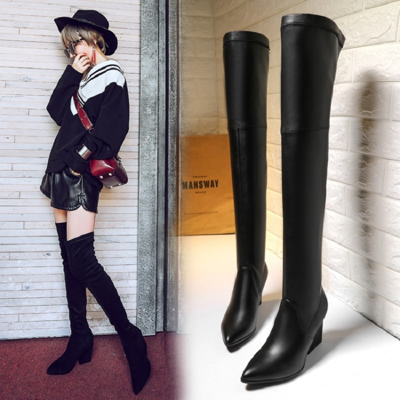 2018 new European and American womens knee boots stovepipe stretch high tube knight boots womens boots