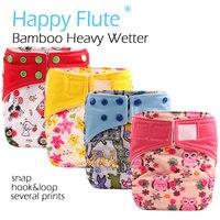 (5 sztuk/partia) HappyFlute OS Bambusa AI2/Ciężki Wetter OS Cloth Diaper, bambus wewnętrzna z dwoma bamboo wkładki, pasuje do 3-15 kg dziecko