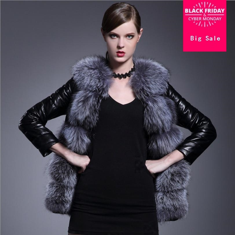 Jackets & Coats S-6xl Winter New Casual Women Patchwork Faux Fox Fur Collar Pu Leather Slim Jacket Plus Size Fashion Female Fur Overcoats L1435 Ideal Gift For All Occasions Women's Clothing