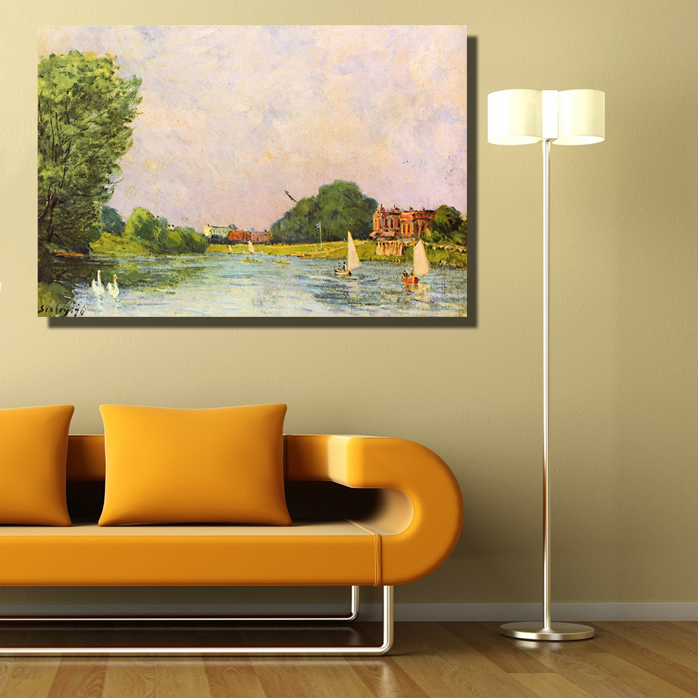 HDARTISAN Impression Thames at Hampton Court oil painting Wall Art ...