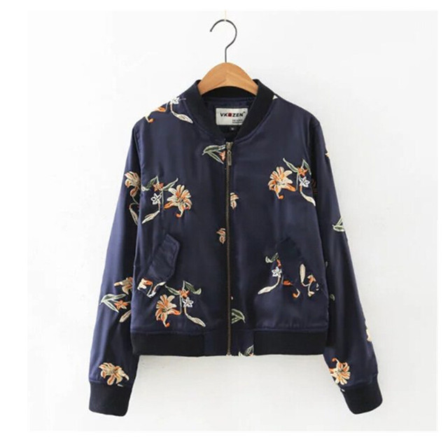 2016 Contrast color Flower Embroidery Jacket New Women V neck Pockets Short Bomber Jacket Coat Pilots Outerwear Tops 2 colors